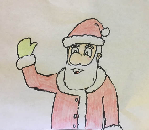heres a little drawing of santa i did using a sharpie and colored pencils that my nephew had when we were hanging out one day it has been added to the art